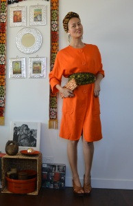 orange coat dress