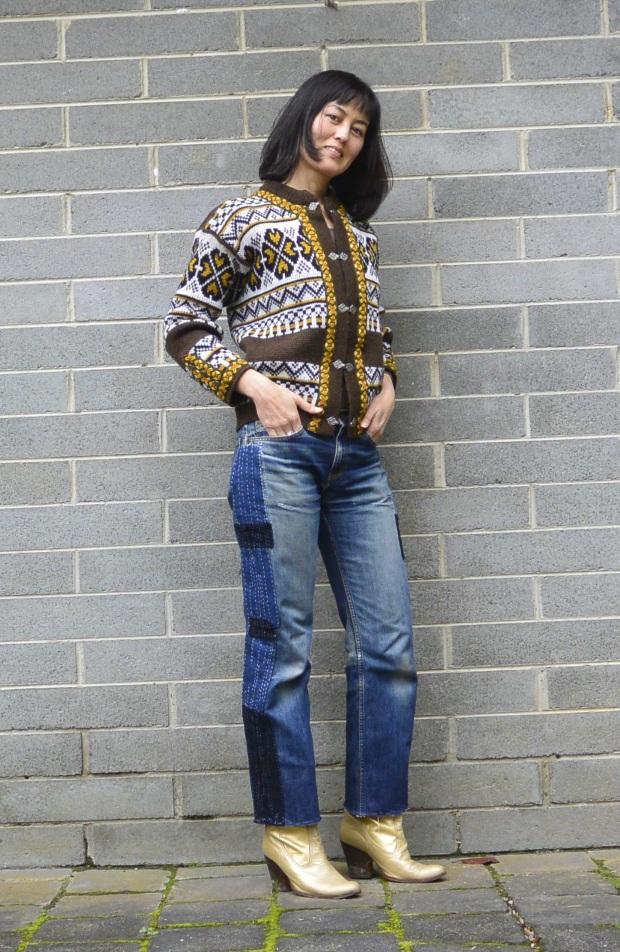 patchwork denim vintage jeans