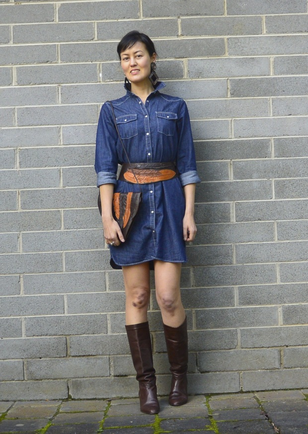 denim dress thrift belt bag boots