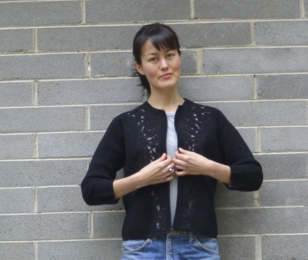 black embroidery cardigan
