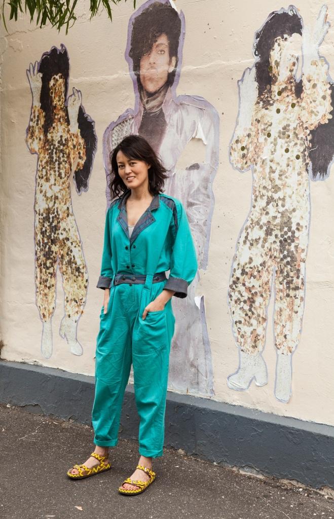 turquoise jumpsuit Prince street art