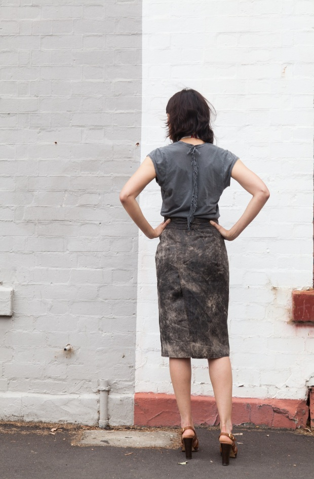 leather look skirt back DIY