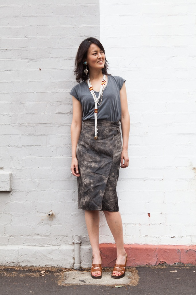 DIY wrap leather skirt