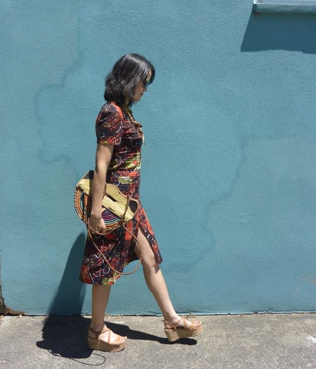 Asian batik suit walking
