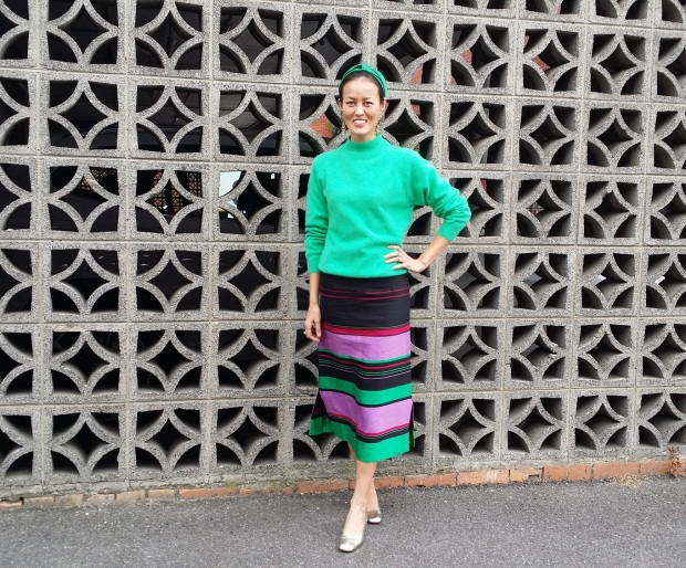 green silk skirt stripe DIY