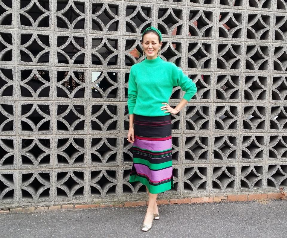 green silk skirt stripe DIY