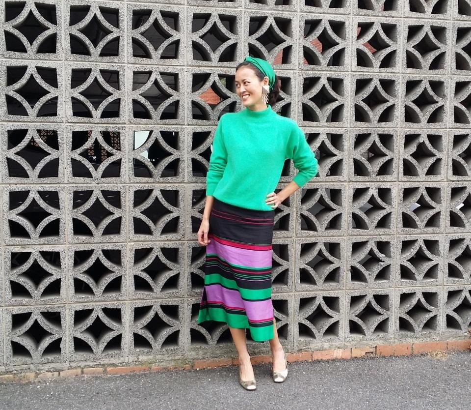 silk stripes skirt DIY