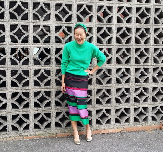 green cashmere jumper silk skirt