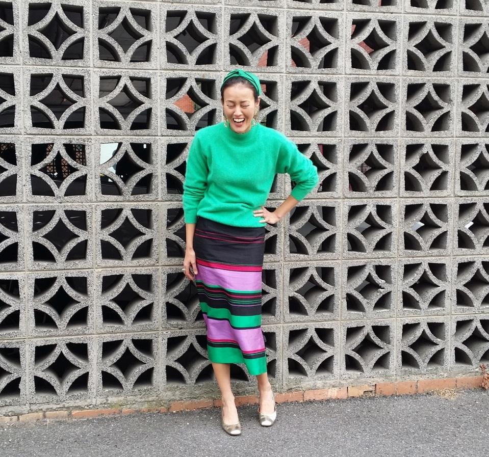 green cashmere jumper silk skirt