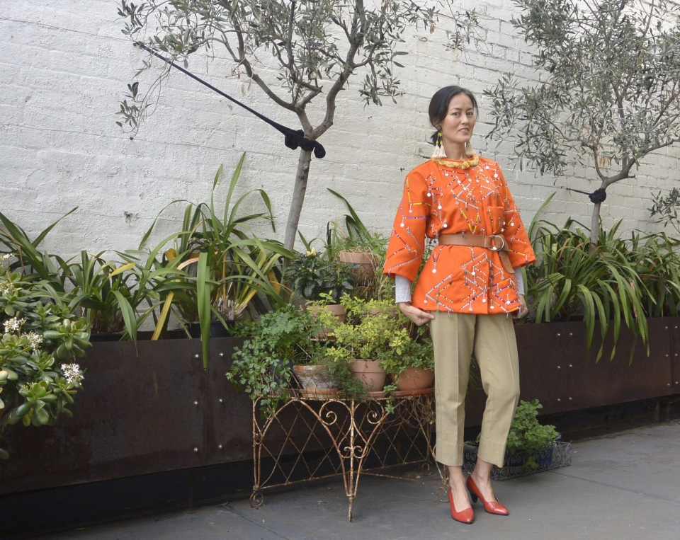 orange beads jacket