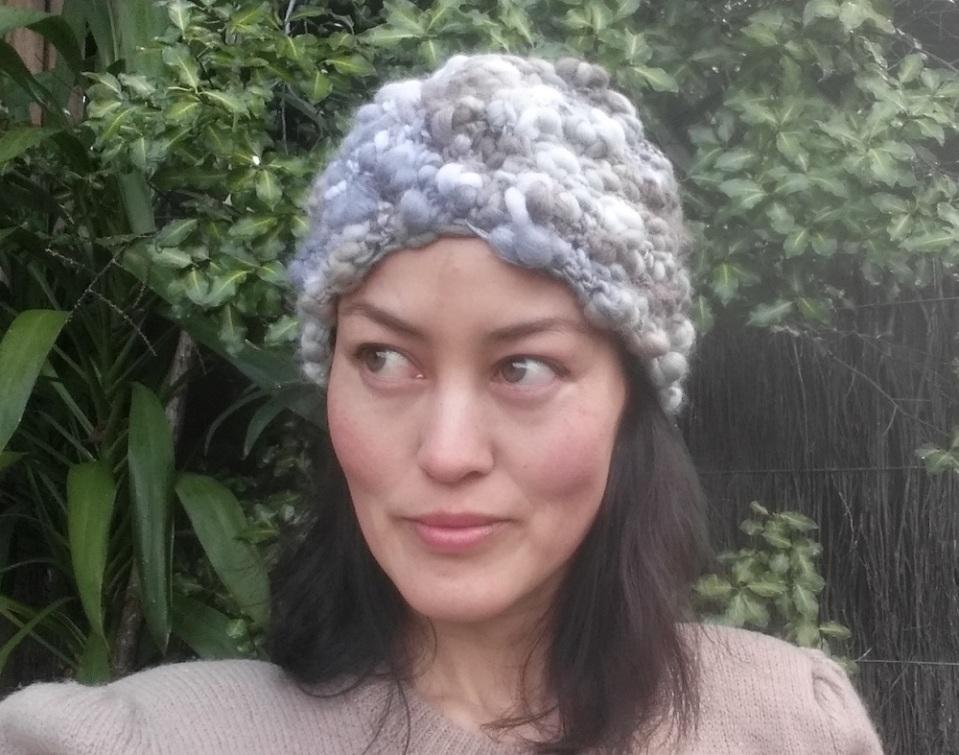 crochet grey wool turban