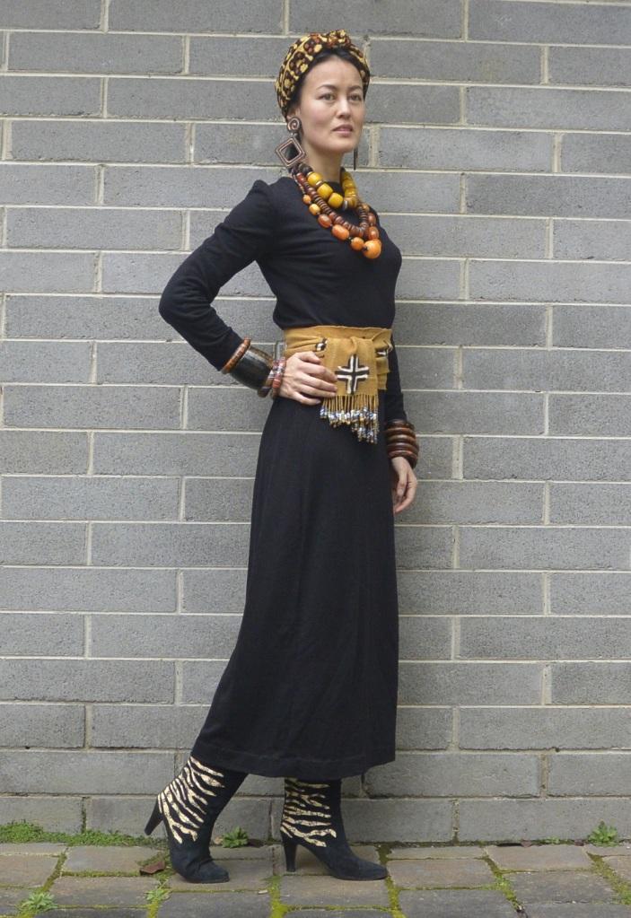 batik Africa black dress